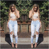 Elastic Hole Low Waist Slim Nostalgic Pencil Pants