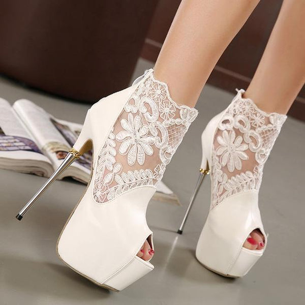Lace Patchwork Peep Toe Platform Super Stiletto High Heels Sandals