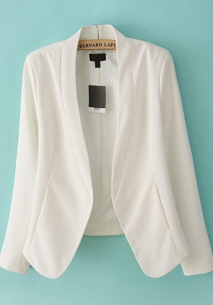 White Band Collar Wrap No Button Notched Long Sleeve Slim Fashion Office Cotton Blend Suit