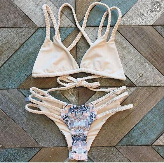 Snake Pattern Print Cross Straps Hollow Out Bikini