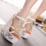Sexy Hollow Out Platform High Wedge Sandals Club Shoes