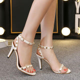 Rivets Open Toe Ankle Wrap Stiletto High Heels Sandals