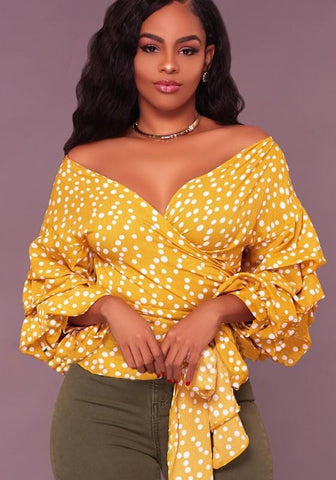Yellow Polka Dot V-neck Bow Belt Wrap Lantern Sleeve Elegant Cute Blouse