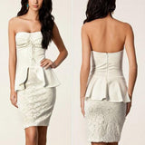 White Patchwork Bandeau Peplum Boat Neck Off Shoulder Backless Mini Dress