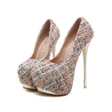 Round Toe Low Cut Platform Super High Stiletto Heels Party Shoes