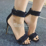 Rough Edge Denim Open Toe Ankle Wrap Stiletto High Heels Sandals