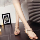 Slip-on Open Round Toe Ankle Wrap Flat Sandals