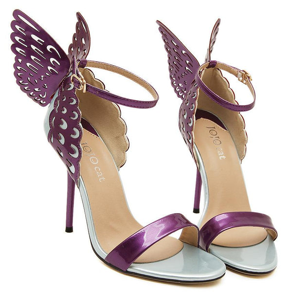 Butterfly Decorate Stiletto Heel Peep-toe Ankle Strap High Heel Sandals