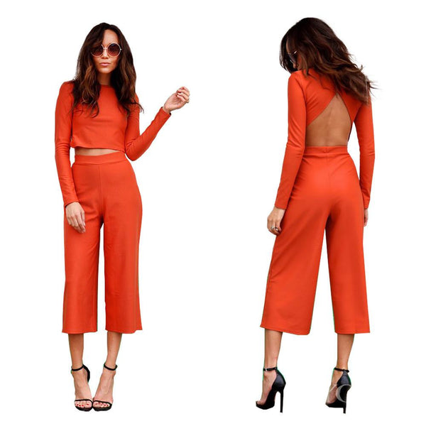 Backless Blouse 3/4 Wide Legs Pants Two Pieces Set