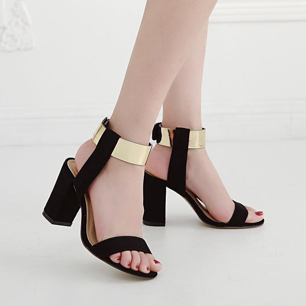 Shinning Gold Ankle Wrap Open Toe Chunky High Heels Sandals