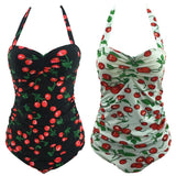 Fruit Print Halter Tankini Plus Size Swimwear