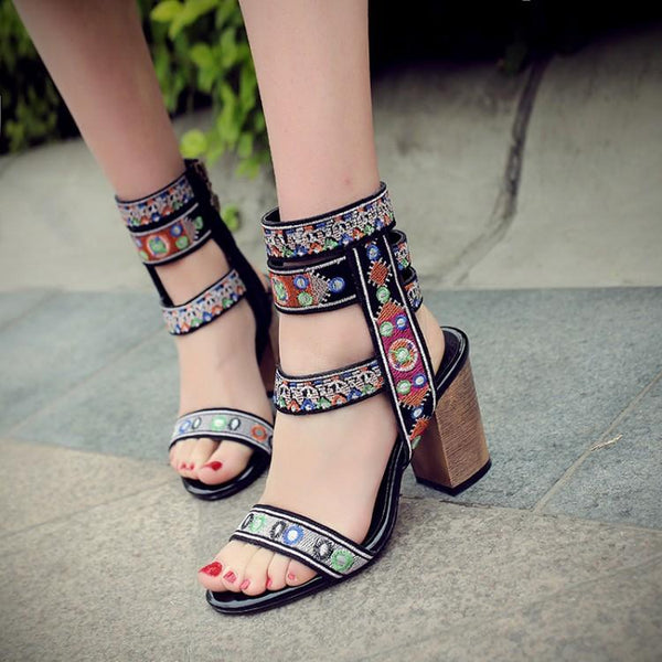 Retro Open Toe Ankle Wrap High Chunky Heels Sandals