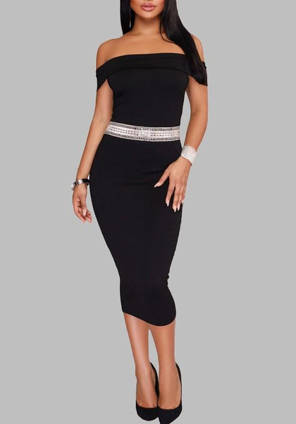Black Patchwork Zipper Mosaic Rhinestone Bodycon Off Shoulder Cocktail Party Elegant Midi Dress