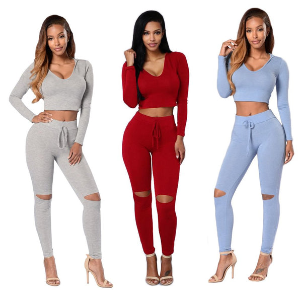 Pure Color Long Sleeves Crop Top with Skinny Pants Two Pieces Set