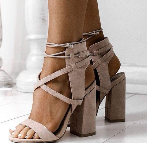 Suede Cross Strap Chunky Heel Sandals