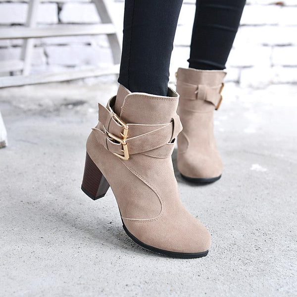 Round Toe Straps Wraps Chunky Low Heels Short Boots