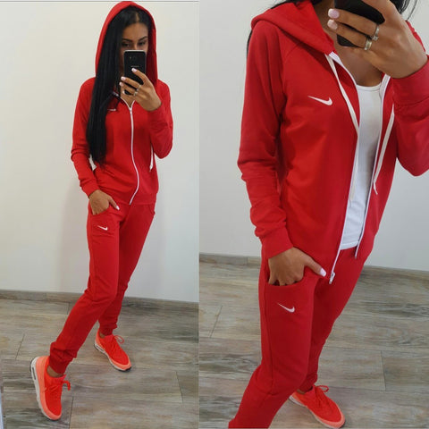 Pure Color Sports Hoodie with Pants Two Pieces Set