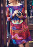 Red-Blue Striped Cut Out Round Neck Long Sleeve Loose Backless Midi Dress