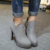 Round Toe Side Zipper Low Cut Stiletto High Heels Short Boots