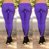 Purple Elastic Heart Shape Slim Long Leggings