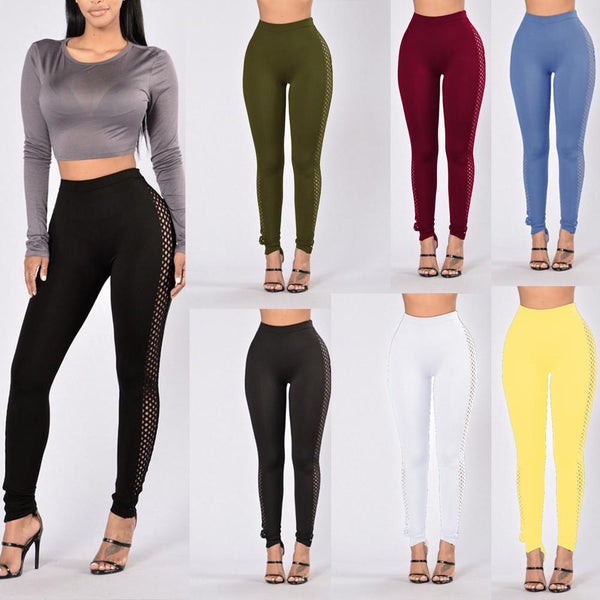 Hollow Out High Waist Pure Color Slim Leggings