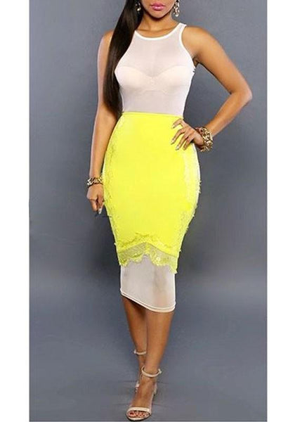 White-Yellow Patchwork Lace Hollow-out Grenadine See-through Bodycon Clubwear Midi Dress