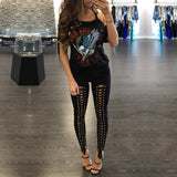 Black Hollow Out Lace Up Leg High Waist Pants