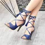 Snake-grain Pattern Peep Toe Straps Ankle Wrap Stiletto High Heel Sandals