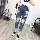 Middle Waist Cut Out Rough Holes Harem 9/10 Jeans Denim Pants