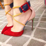 Pointed Toe Color Block Low Cut Ankle Wrap Stiletto High Heels Sandals