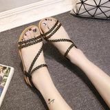 Rattan Grass Open Toe Ankle Strap Flat Sandals