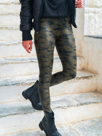 Onlinechoic Green Camouflage Print Elastic Waist Fashion Long Pants