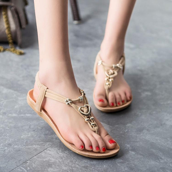 Beads Decorate Open Toe Slip-on Flat Beach Sandals