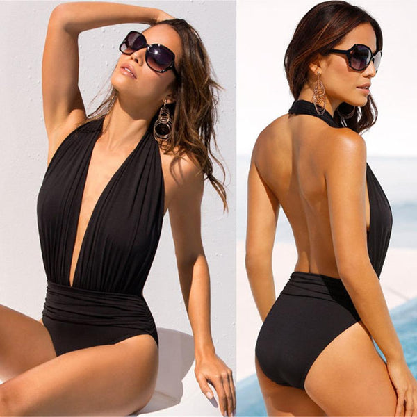 Deep V-neck Halter Backless One Piece Swimwear