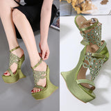 Crystal Cut Open Toe Platform Unique High Wedge Sandals