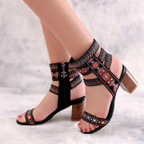 Hand Wave Embroidery Middle Chunky Heel Open Toe Sandals