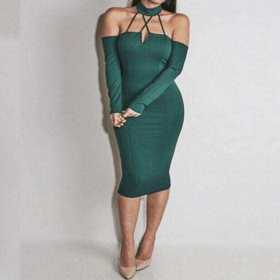 Green Hollow-out Halter Neck Boat Neck Off Shoulder Backless Bodycon Midi Dress