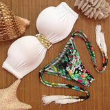 White Floral Bandeau Studded Chain 2-in-1 V-neck Fashion Swimwear