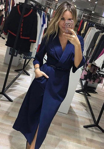 Blue Pockets Sashes Turndown Collar Long Sleeve Fashion Midi Dress