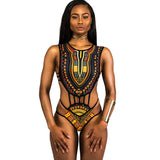Retro Hollow Out Straps Bandage One Piece Swimwear
