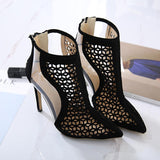 Cut Hollow Out Pointed Toe High Stiletto Heels Short Boot Sandals