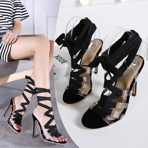 Straps Transparent Stiletto Heel Peep-toe Ankle Strap High Sandals