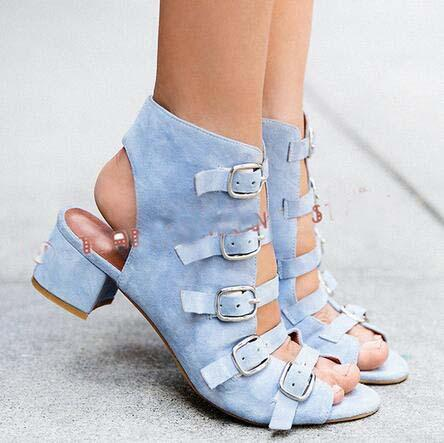 Hasp Denim Cut Out Peep Toe Middle Chunky Heels Sandals