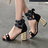 Beads Decorate Open Toe Ankle Straps Middle Chunky Heels Sandals