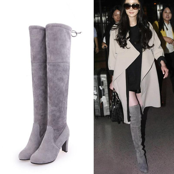Suede Chunky Heel Pointed Toe Over-knee Long Boots