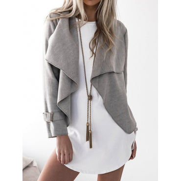 Euramerican Turndown Collar Long Sleeves Asymmetrical Grey Polyester Jacket
