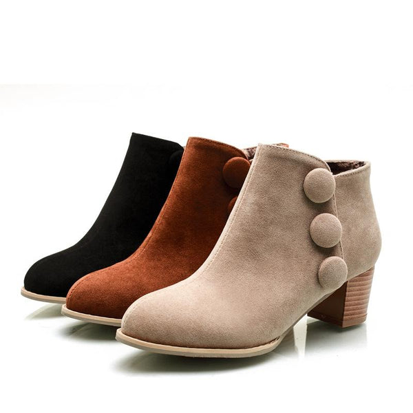 Buttons Decorate Suede Round Toe Chunky Low Heels Short Boots
