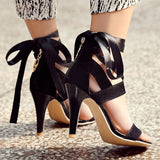 Open Toe Ankle Straps Lace Stiletto High Heels Sandals
