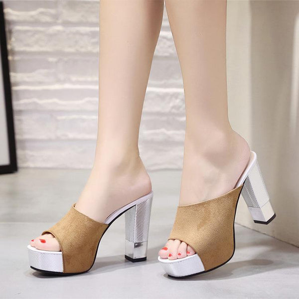 Platform Open Toe High Chunky Heels Slippers Sandals
