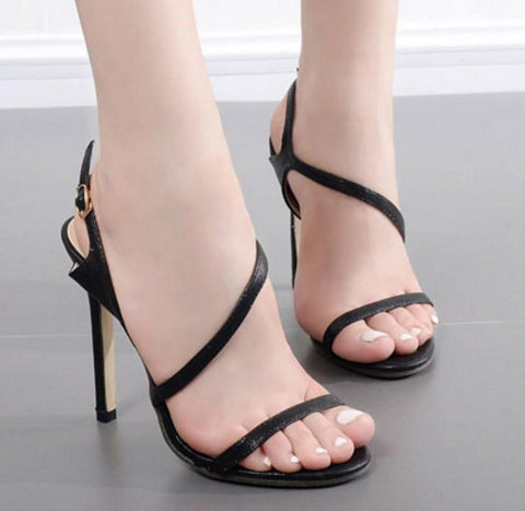 Simple Straps Open Toe Stiletto High Heels Sandals